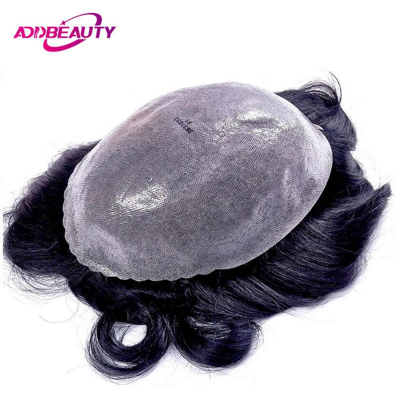 Peluquín de piel fina AddBeauty para hombre PU 0,10-0,14mm 8x10 PU reemplazo indio Remy Natural pelo humano SISTEMA DE peluquines hechos a mano