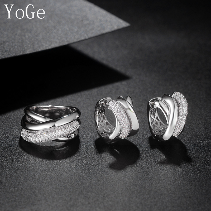 YoGe Statement Jewelry, Luxury AAA Cubic Zirconia Popular Multi-layered Hoop Earrings And Ring For Women Accessaries S2529