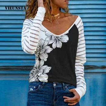 Wiosenny i jesienny nowy bluza z wycięciem w serek koszule Vintage w kwiaty nadruk patchworkowy pulowerowe topy modne w paski z długim rękawem Blusa Streetwear tanie i dobre opinie VIEUNSTA COTTON POLIESTER CN (pochodzenie) Na wiosnę jesień REGULAR V-neck WOMEN NONE Pełne Na co dzień Sukno Drukuj