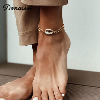Donarsei 2019 New Fashion Sea Shell Anklet For Women Summer Beach Tassel Ankle Bracelet On The Leg Foot Jewelry