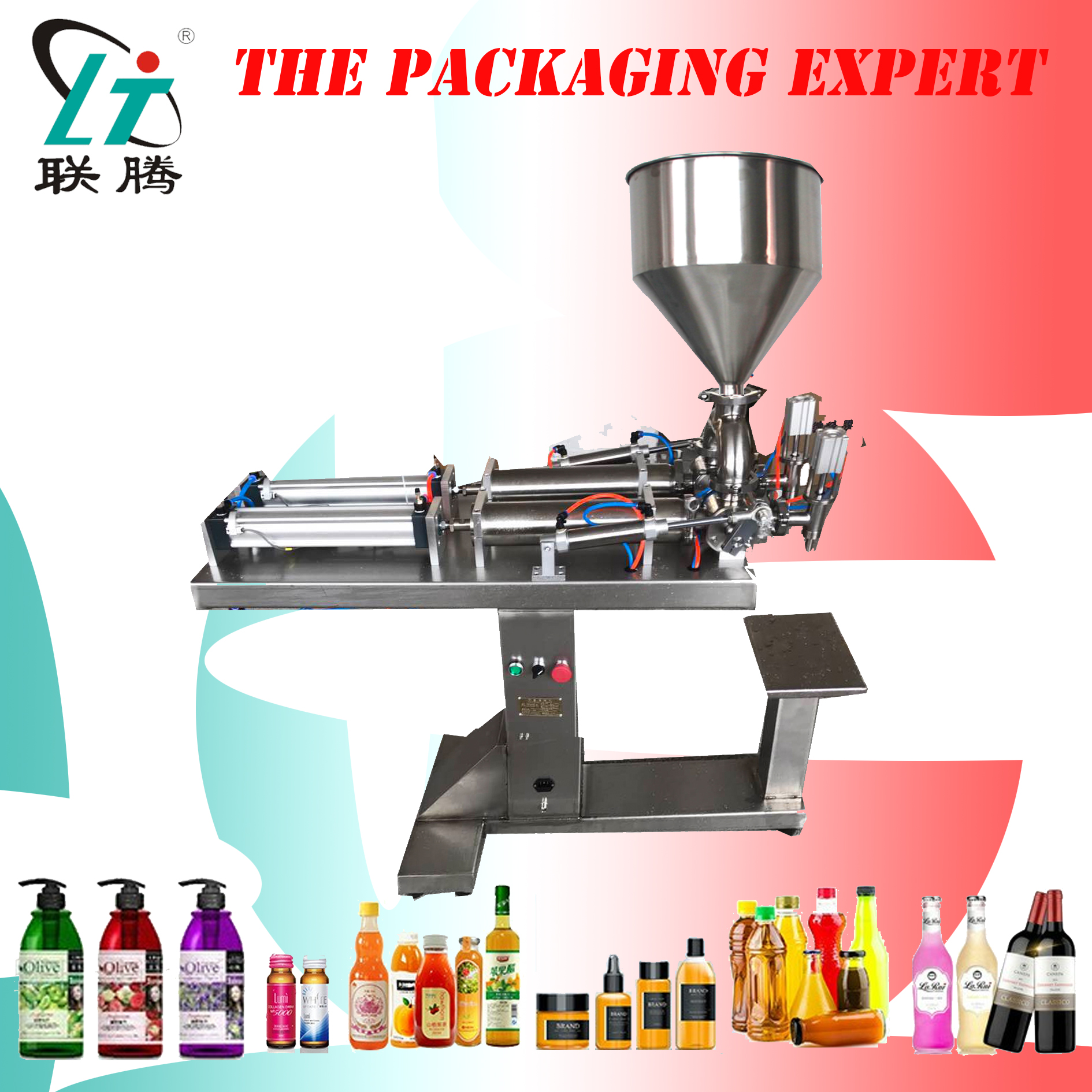 Paste Cream Filling Machine Double Heads With Stand Filler Shampoo Lotion Yoghourt Honey Juice Sauce Jam Gel Free Shipping