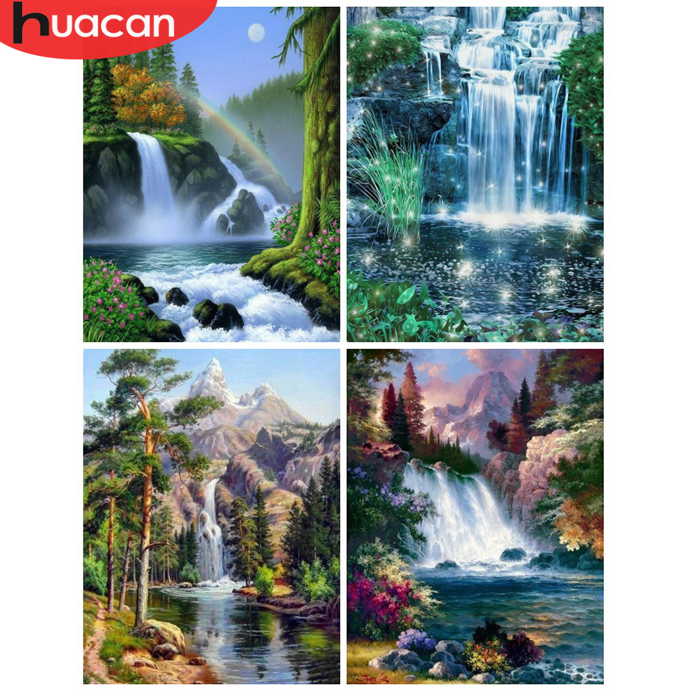 HUACAN  Picture By Numbers Waterfall Scenery Drawing On Canvas Paint HandPainted Art Kits DIY Gift Home Decoration