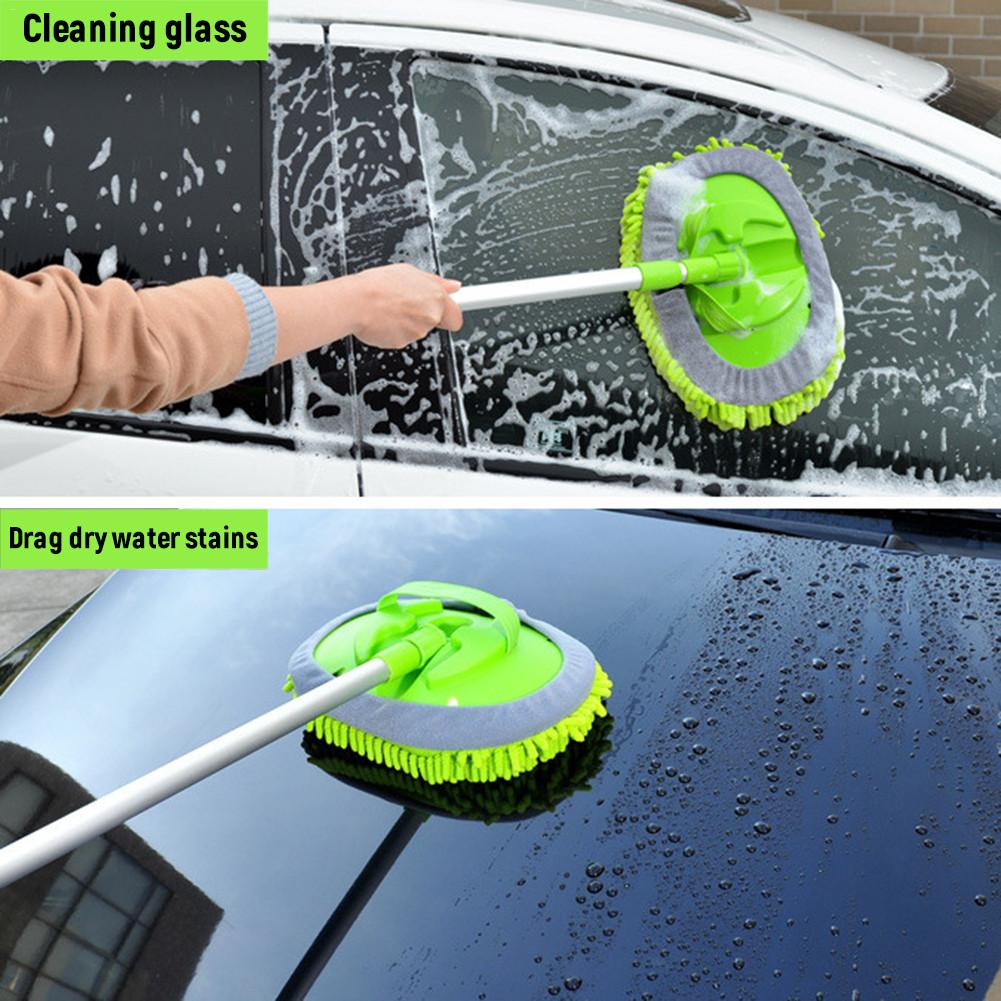 2 in 1 Car Wash Cleaning Brush Microfiber Car Wash Mop Mitt with Long Aluminum Alloy Long Handle Car Washing Tools for Car Truck
