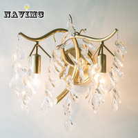 European Creative Crystal Wall Lamp American Retro E14 LED Bulb Lighting Fixture Sitting Room Balcony Lamps