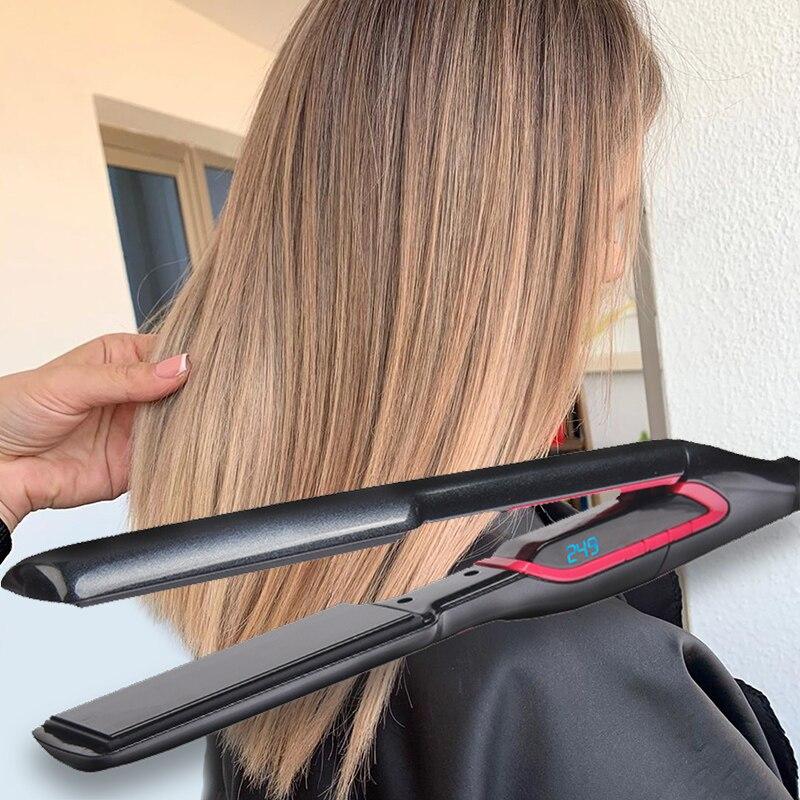 Новинка 2020, электронный керамический Быстрый выпрямитель для волос, портативный утюжок для волос, профессиональные утюжки для выпрямления волос, ЖК дисплей, Прямая поставка|Утюжки для выпрямления|   | АлиЭкспресс