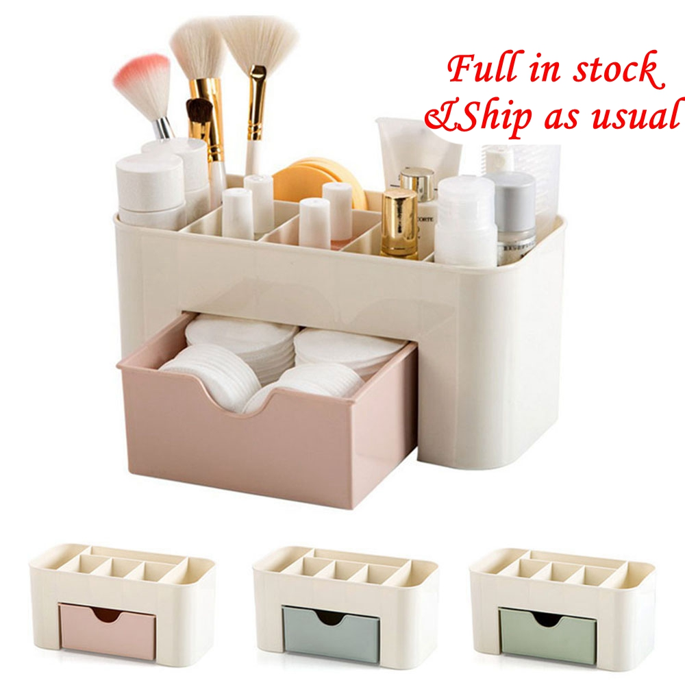 Plastic Makeup Organizer Large Capacity Make Up Brush Storage Box With Drawer Lipstick Organizer Storage Case Lipstick Holder