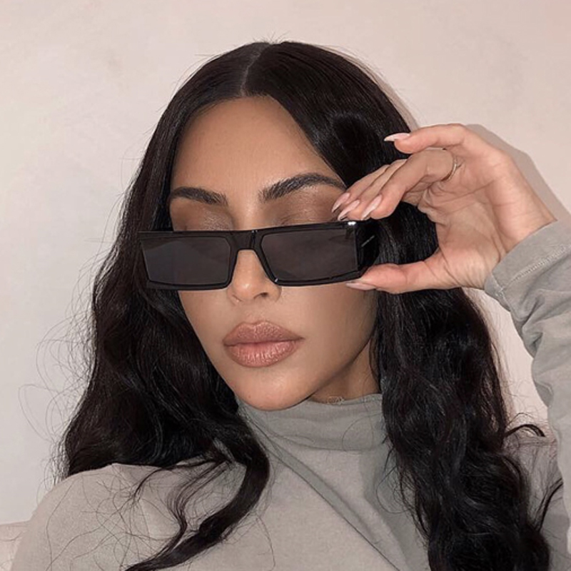 FEISHINI High Quality Sunglasses Women Fashion Brand Designer Rectangle Big Frame Sun Glasses Ladies Vintage Candy Color Eyewear