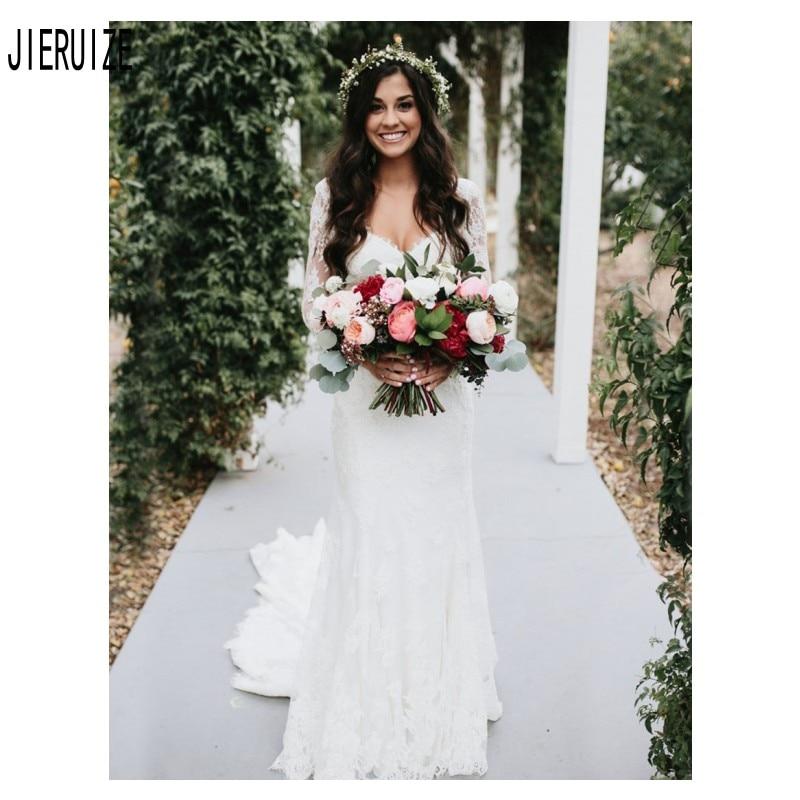JIERUIZE Modest Sexy Lace Mermaid Wedding Dresses V Neck Long Sleeve Button Back Wedding Gowns Lace Appliques Vestido De Noiva
