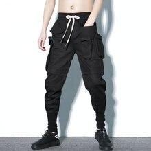 2020 Men Joggers Pants Hip Hop Fashion Black Solid Elastic Waist Harem