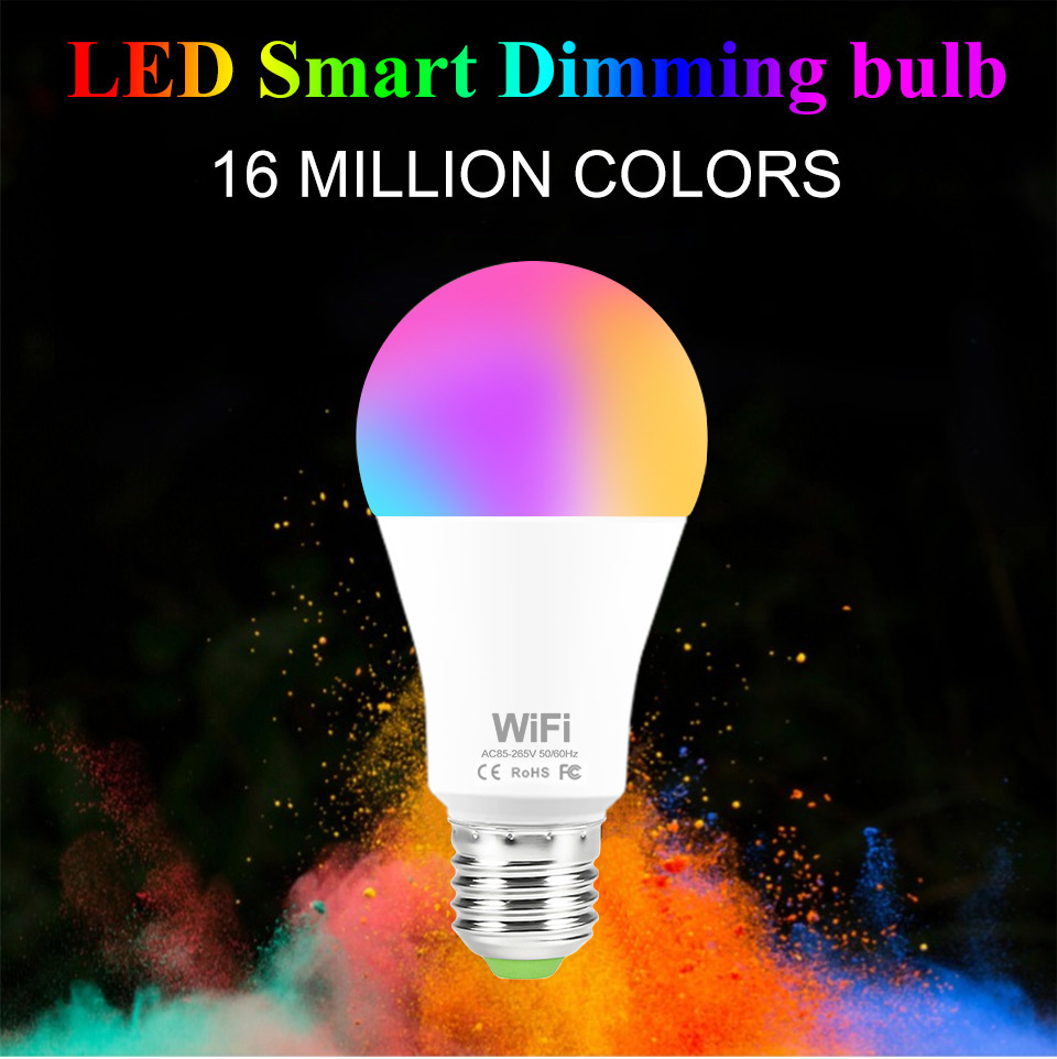 Intelligent Wifi E27 B22 Bulb RGB Warm Cool White Work With Google Home 15W AC85-265V Wifi Bulb LED Light Smart Life SMD 2835
