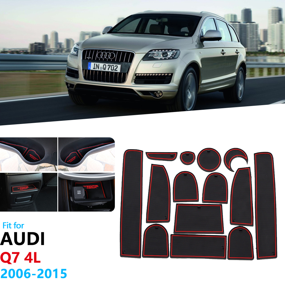 For Audi Q7 4L 2006~2015 S Line Logo Anti-Slip Rubber Gate Slot Cup Mat 2007 2008 2009 2010 2011 2012 2013 2014 Car Accessories