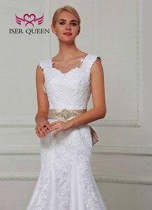 Image 3 - Podwójne ramię krótki kimonowy rękaw koronkowe suknie ślubne syrenka z szarfą Pure White Custom Made urocza suknia ślubna dla nowożeńców W0070