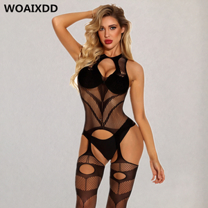 Sexy Bodystockings Women Fishnet Open Crotch catsuit Lingerie Erotic Bodysuit Sleepwear Crotchless jumpsuit Teddy Porn Underwear