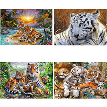 4Pieces/lot DIY Tiger 5D Diamond Painting Animal Mosaic Cross Stitch Diamond Embroidery Full Round Drill Art Home Decor Gift