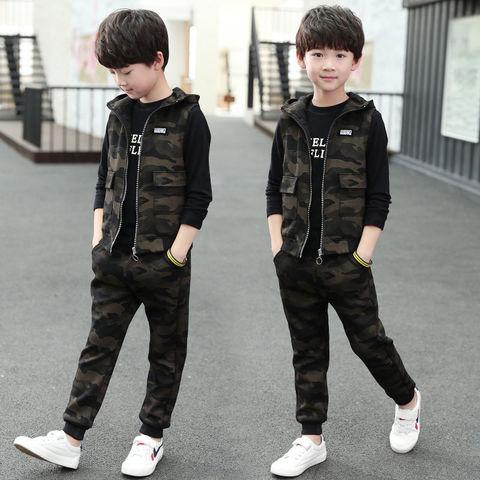 3 pcs adolescente criancas roupas do bebe meninos traje carta agasalho camuflagem topos calcas criancas