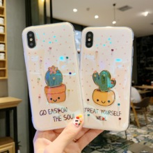 jamular Blu-ray cases cactus IMD phone case For iPhone X XS XR Max 8 7 6 6S Plus Interesting cartoon pattern back cover