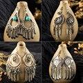 Богемные этнические Винтажные серьги-подвески серебряного цвета, Золотая кисточка, женские свадебные аксессуары, ювелирные изделия