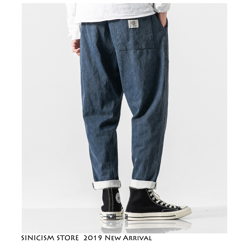 Sinicism Store Men New Casual Chinese Style 2019 Autumn Streetwear Jeans Mens Vintage Blue Pants Male Plus Size Fashion Trousers