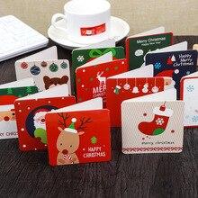 6+ 6 конверт/комплект с изображениями героев мультфильмов, Рождественская тематика, поздравительная открытка небольшой Санта Клаус Олень Лось открытка merry Christmas Подарки на год карты