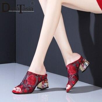 DORATASIA Fashion Lady Sandals Brand Leisure Pumps Women Flower Slip On Open Toe Elegant Casual Office Shoes Woman