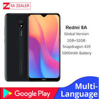 Original versão global xiaomi redmi 8a 2 gb ram 32 gb rom snapdragon 439 12mp câmera 5000 mah bateria smartphone octa cellhphone