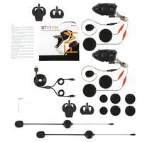 أسود دائم BTX1 دراجة نارية خوذة سماعات اتصال داخلي حر اليدين إنترفون FM رايدر إلى باسنجر إنترفون|سماعات خوذة|   -