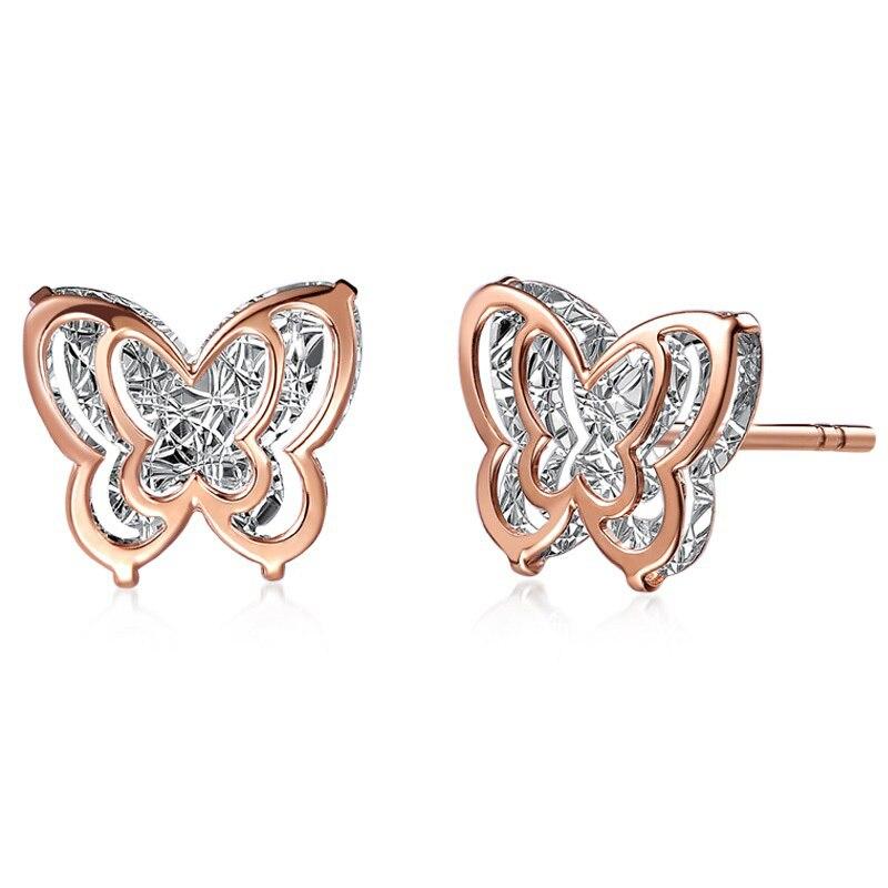 Trendy 18K Real True Rose Solid Genuine Gold AU750 Butterfly Stud Piercing Earrings for Women Girl Trendy Upscale Jewelry Gift