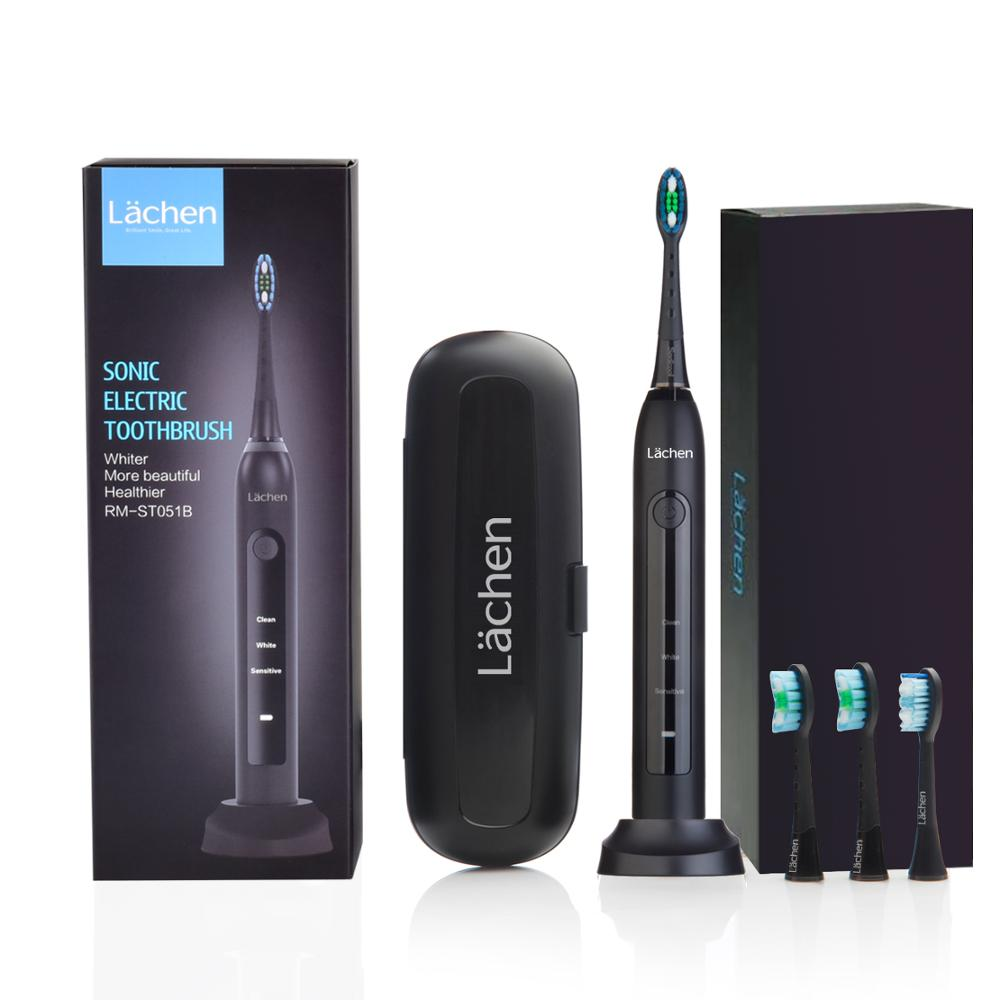 lachen Electric Toothbrush 051B Sonic Toothbrush USB Rechargeable Tooth Brushes With 4 Pcs DuPont Replacement Time Brush Heads