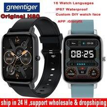Greentiger – montre connectée H80, étanche IP67, moniteur de fréquence cardiaque, tension artérielle, oxygène, sport, personnalisé, PK P8, nouveau, 2021