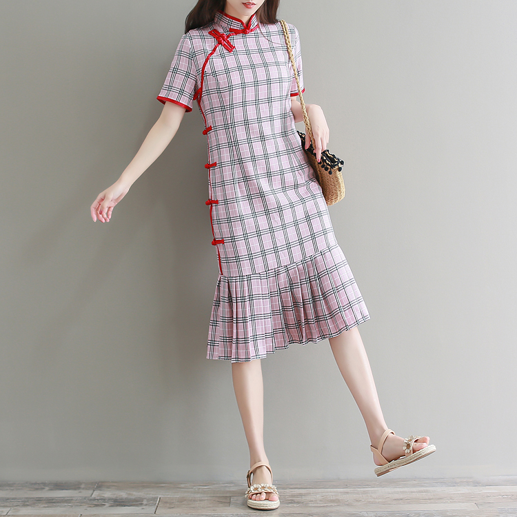 2020 Chinese Dress Women Oriental Style Cheongsam Dress Qipao Dress Printing Vestidos Female Short Sleeve Daily Party Dress