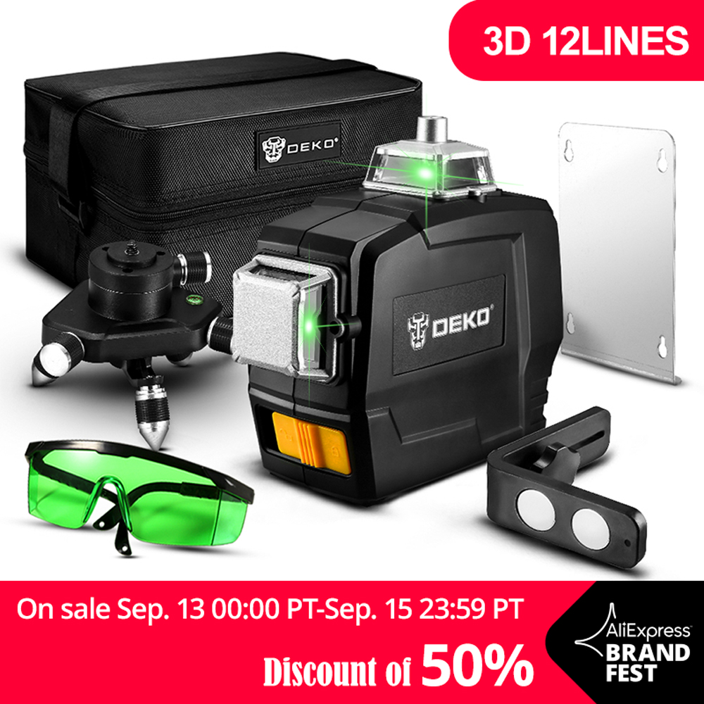 DEKO DC Series 12 Lines 3D Green Laser Level Horizontal And Vertical Cross Lines With Auto Self-Leveling, Indoors and Outdoors s1000rr turn led lights