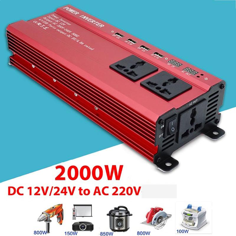 HiMISS 2000W Solar Car Sine Wave Inverter 4.8A 4 USB Interface LED DC12V To AC220V Converter