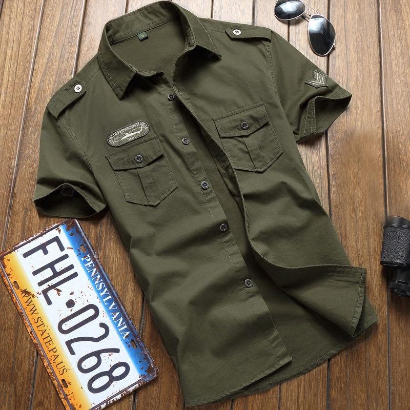 Military Shirt Men Tactics Short Sleeve Summer Tops Solid Color Pocket 5XL Plus Size Clothes