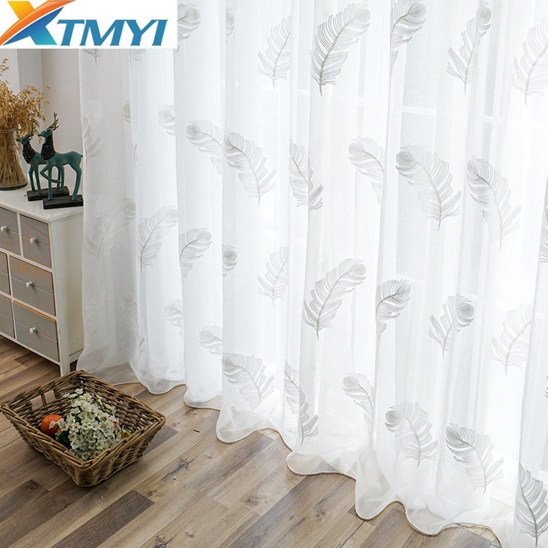 Image 5 - Tulle Curtains For Living Room Elegant Feather Kitchen Curtain For Bedroom Home Decorative Window Ready Made Curtain CustomizedCurtains   -