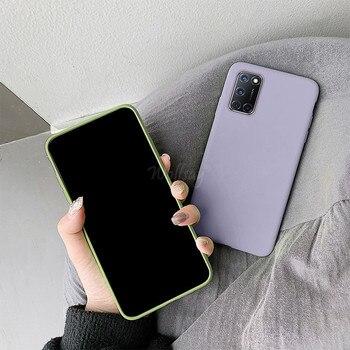 Перейти на Алиэкспресс и купить Конфетный, ТПУ чехол для Oppo A92, чехол из углеродного волокна, сплошной цвет, жидкий чехол для телефона Oppo A92 A72 A52 A91 A92S, чехол Oppo A72