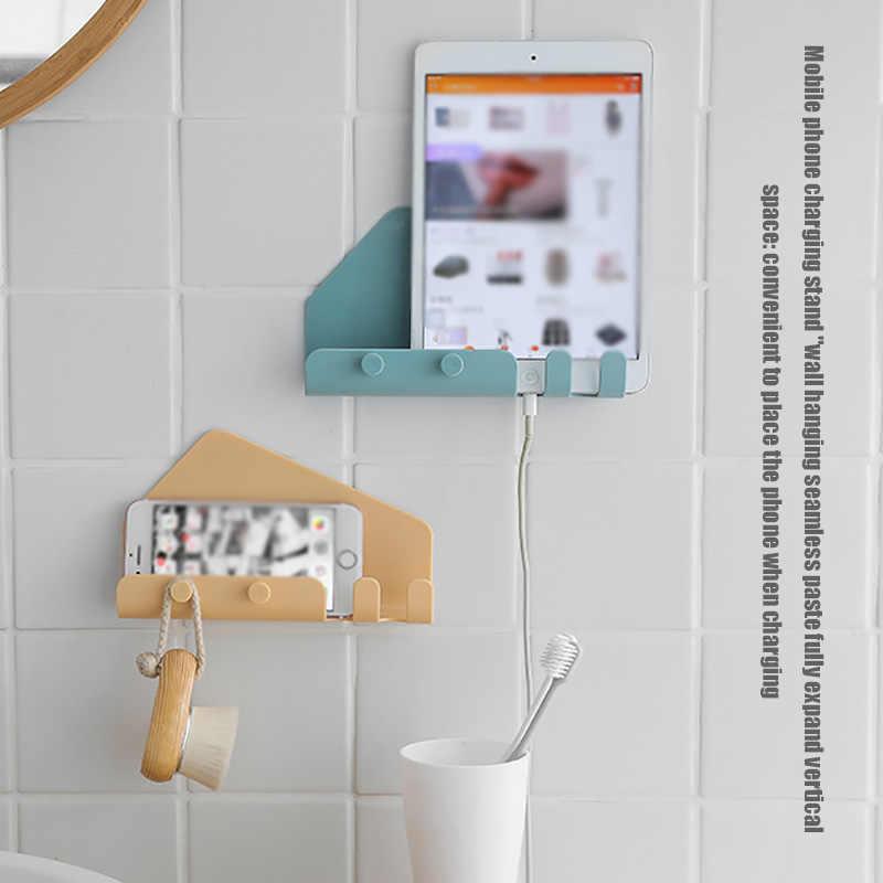 電話タブレットスタンド壁接着痕跡フックハンガーキッチン収納ラックホルダー調理ヘルパー簡単メニューをチェックする