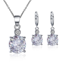 Temperament Bridal Jewelry Round Crystal Earring Necklace Set Exquisite Jewelry Set Wedding Accessories faux crystal wedding jewelry set