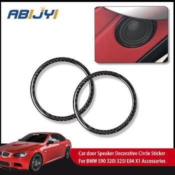 Carbon Fiber Car door Speaker Decorative Circle Sticker Loudspeaker Trim Car Styling For BMW E90 320i 325i E84 X1 Accessories image