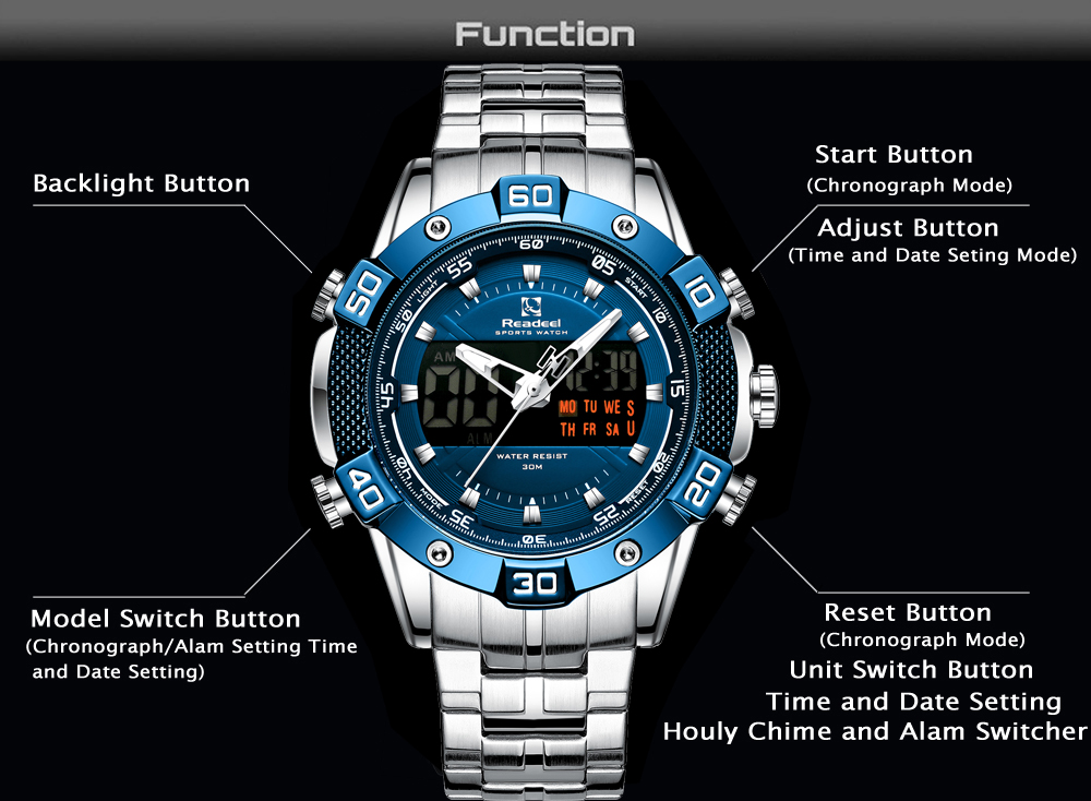 Hf82ebaa3c5a94a5f818377cb9349a675v 2020 Luxury Brand Waterproof Military Sport Watches Men Silver Steel Digital Quartz Analog Watch Clock Relogios Masculinos