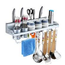 Купить с кэшбэком Space Aluminum Kitchen Storage Holders & Racks Kitchen Shelf Holder Tool Flavoring Rack Spice Rack Wall Mounted F