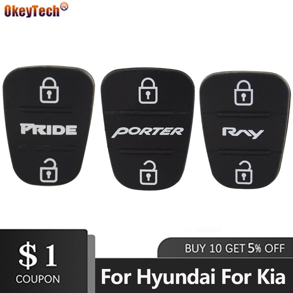 OkeyTech 1PC Remote Car Key Shell Case Button Rubber Pad For Hyundai I30 IX35 For Kia K2 K5 Pride RNY PORTER Key 3 Buttons