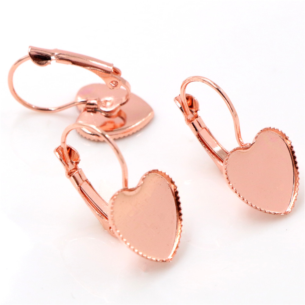 12mm 10pcs Rose Gold Color Plated Heart French Lever Back Earrings Blank/Base,Fit 12mm Heart Glass Cabochons,Buttons (L4-20)