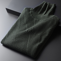 Green Men Luxury Turtleneck Wool Thick Mens Sweaters Fashion Winter Slim Fit Solid Color Pullover Sweater Male