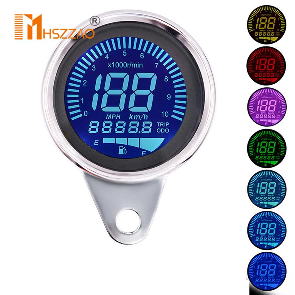 12V 7 Colors Freely Switch Motorcycle Modified Instrument Speed Odometer Oil Gauge Speedometer LCD Tachometer Instrument image