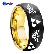 Обручальное кольцо черного и золотого цвета 8 мм с лазерной