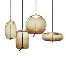 Светодиодный подвесной светильник стеклянный пеньковая веревка