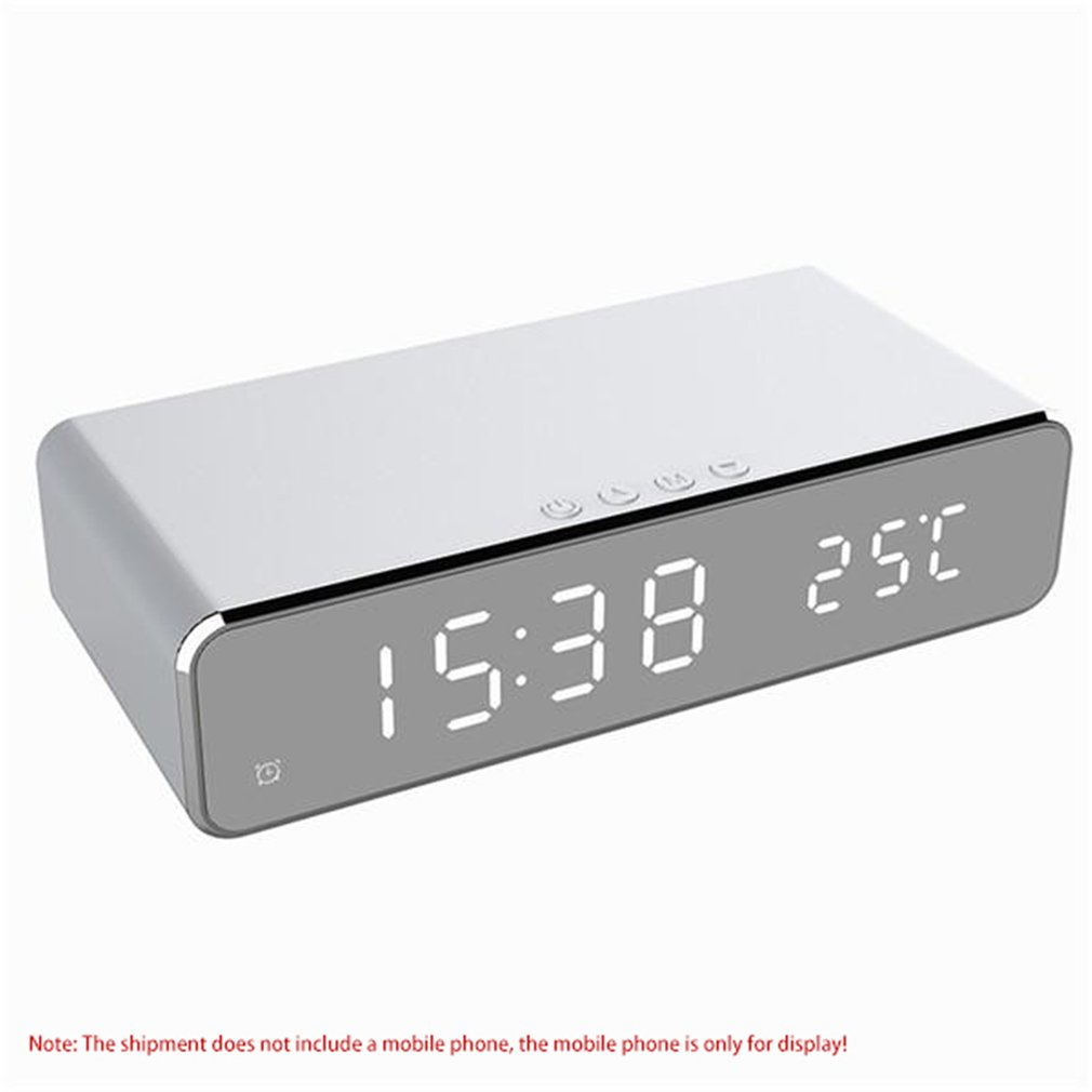 Multifunction Alarm Clock For Indoor Thermometer Wireless Charging For Phone Time Display Date Display