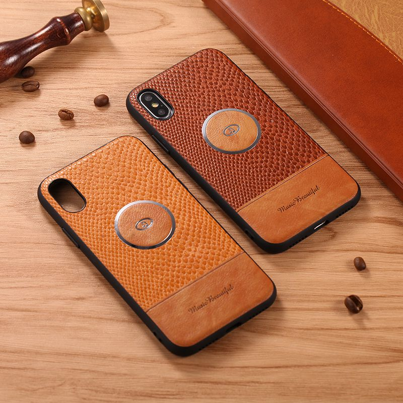 For Iphone 7 Plus Leather Case Xr Luxury Splicing Xs Max Magnetic Absorption Of Vehicle Support
