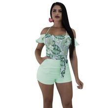 цена на Adogirl 2020 New Summer Women Casual Green Leaf Print Stripe Playsuit Sexy Ruffle Off Shoulder Strappy Shorts Jumpsuit Romper