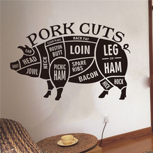 Butcher Shop Sign Animal Wall Decals Vinyl Art Design Poster Mural Pig Pork Cut Window Glass Stickers W760